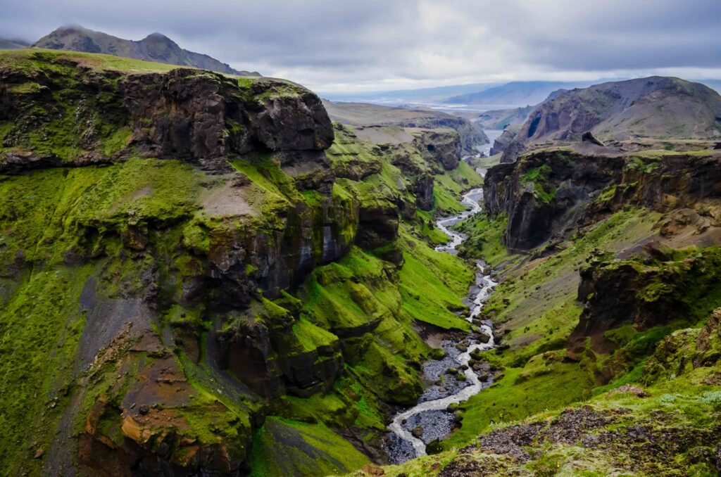 View over Thorsmork during summer in the highlands of Iceland