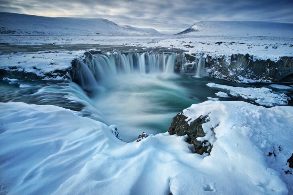 Goðafoss waterfall during winter in north Iceland