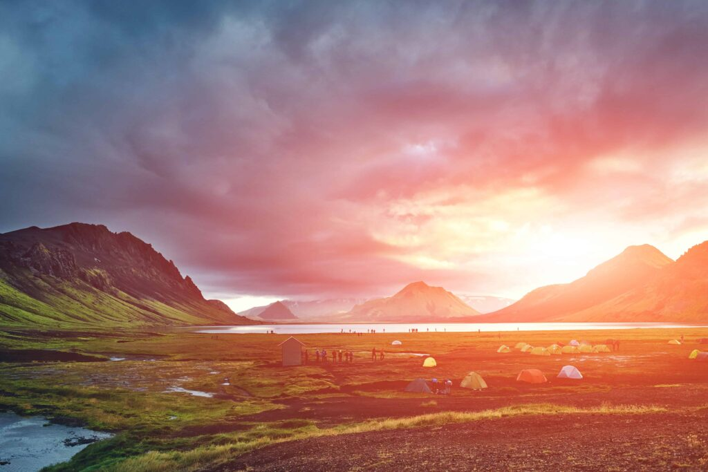 campsite at Álftavatn in the Laugavegur hiking trail in the highlands of Iceland