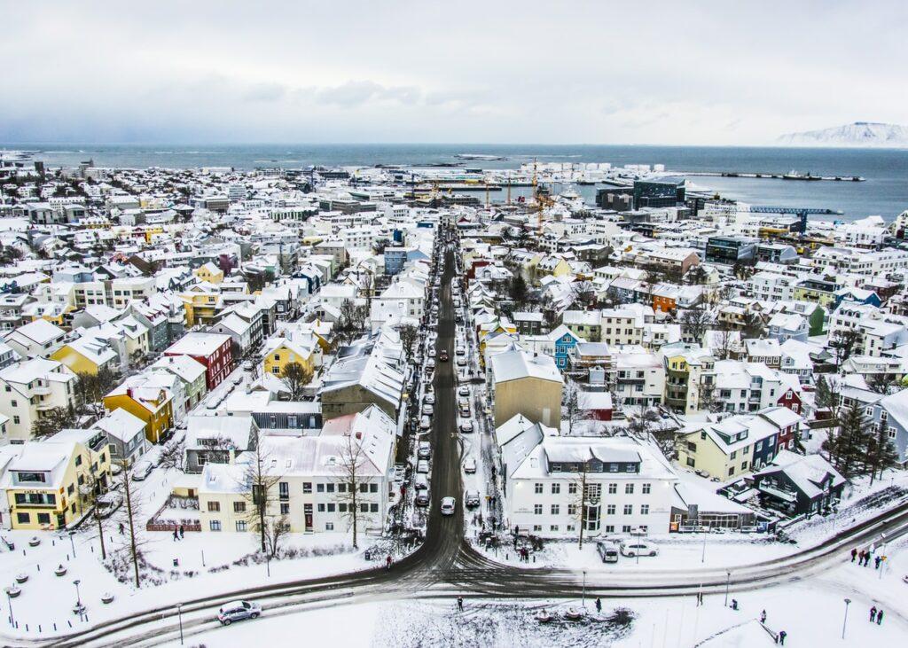view over Reykjavik from Hallgrimskirkja church in winter