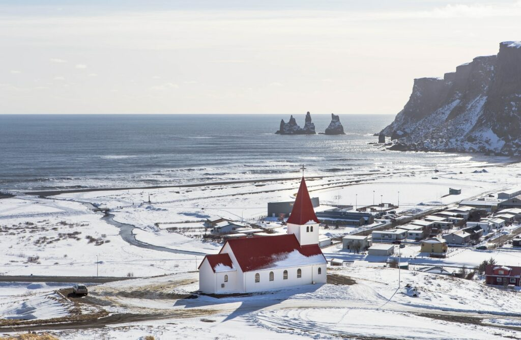 Vík village during winter in south Iceland