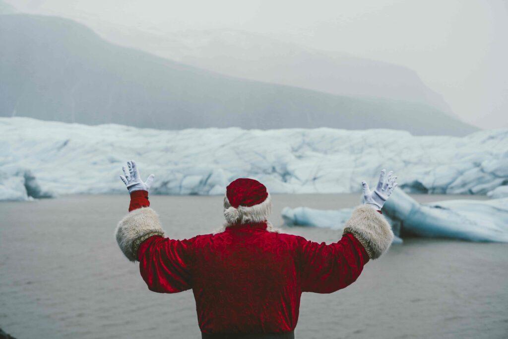 Iceland Yule Lads standing next to Jokulsarlon glacier lagoon