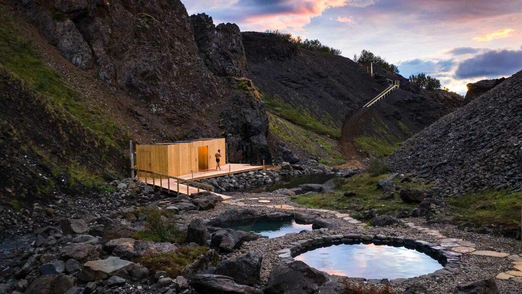Giljaböð hot springs in the highlands of Iceland from Húsafell
