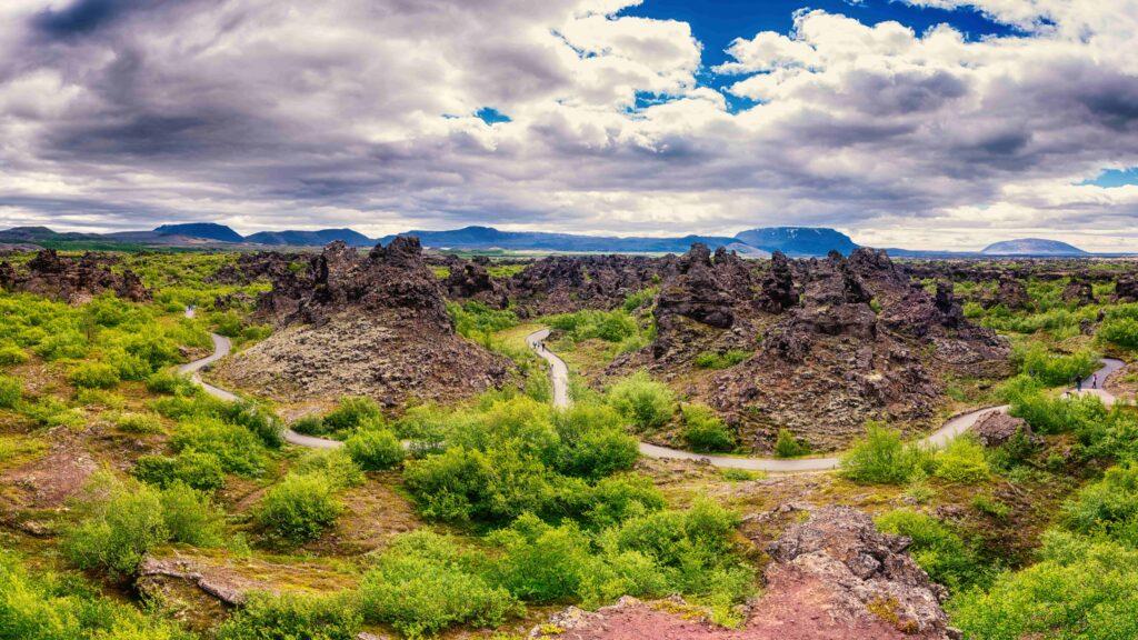 Mývatn Dimmuborgir lava field in north Iceland
