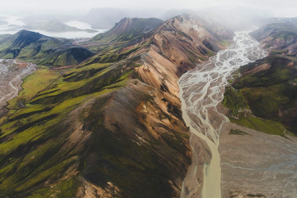 View over the colorful mountains in Landmannalaugar in the highlands of Iceland