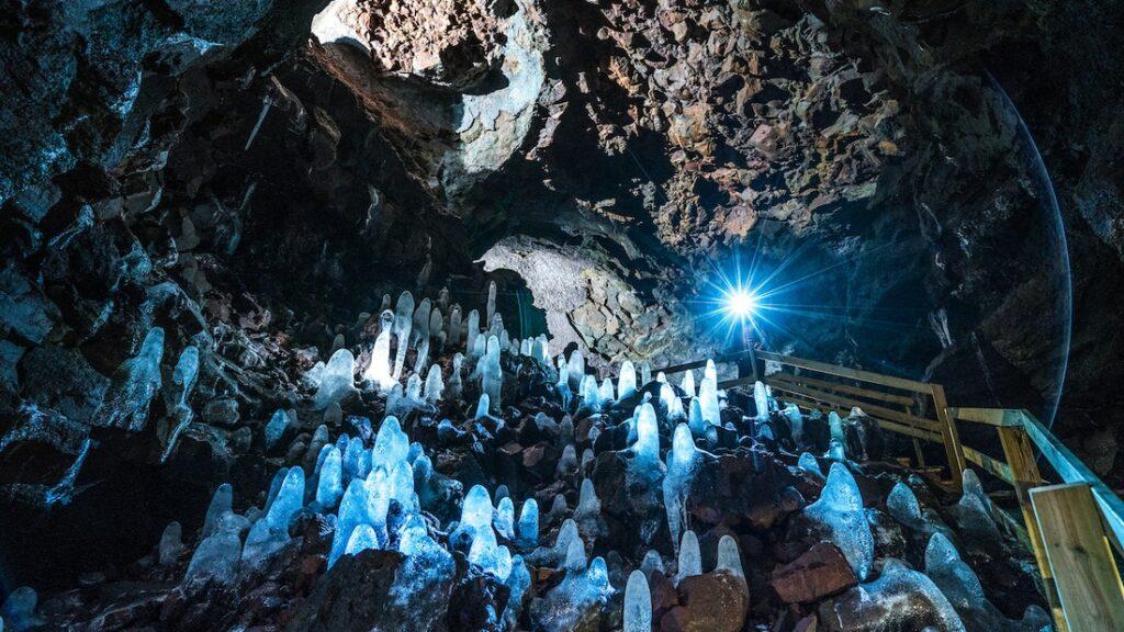 inside Víðgelmir lava cave in west Iceland