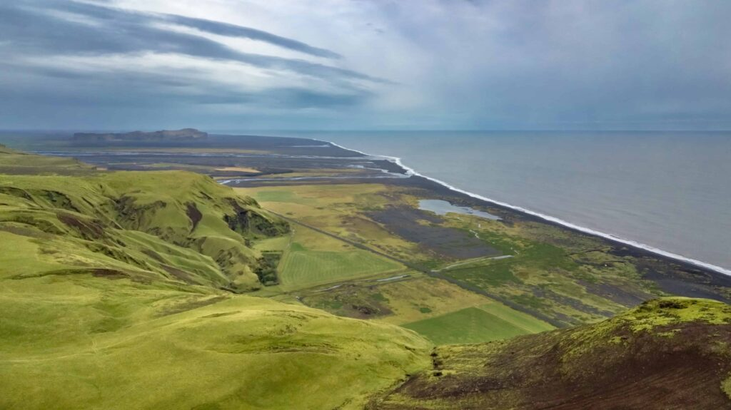 view from the top of Hjörleifshöfði in south Iceland
