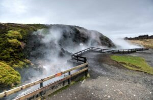 Deildartunguhver geothermal area in west Iceland, largest hot spring in the world