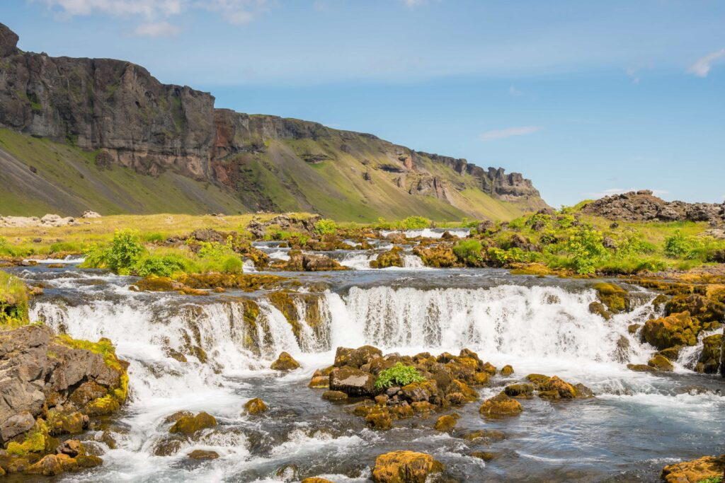 Fossálar waterfalls by the Ring road in south Iceland