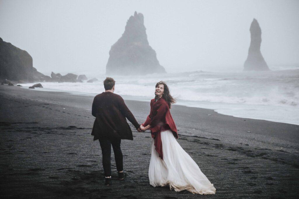 wedding photo shoot at Reynisfjara black sand beach in Iceland