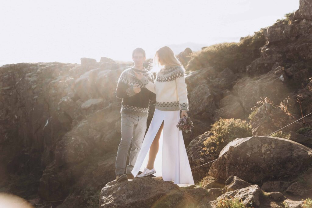 wedding photo shoot at lava field in Iceland