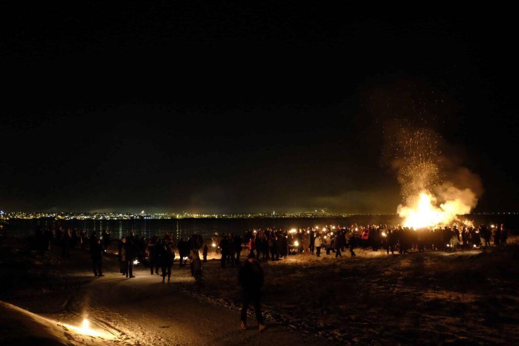 bonfire on new years in Iceland