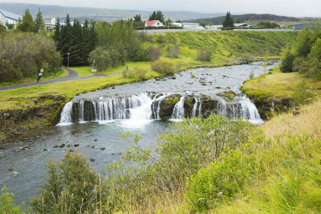 Reykjafoss waterfall in Hveragerdi south Iceland