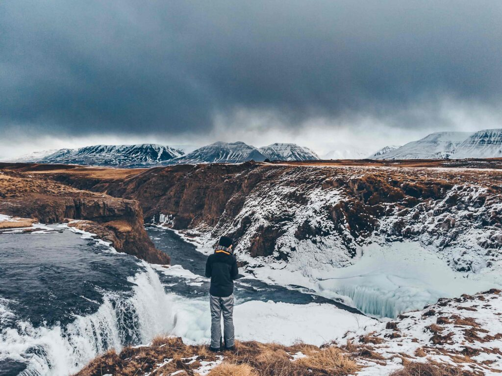 winter at Reykjafoss waterfall in north Iceland
