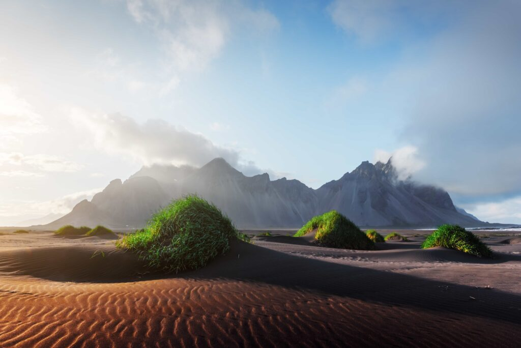 Stokksnes black sand beach and Vestrahorn mountain in south east Iceland