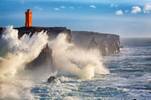 wind and sea at Öndverðanes lighthouse in Snæfellsnes Peninsula