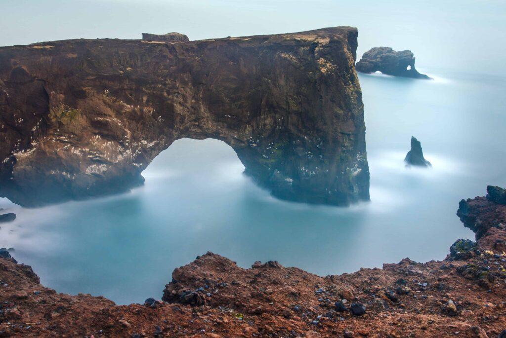 Dyrhólaey arch cliffs in south Iceland
