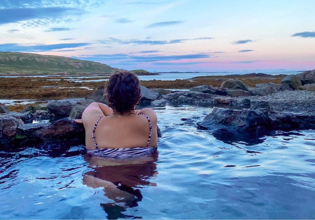Hellulaug hot spring in the westfjords of Iceland