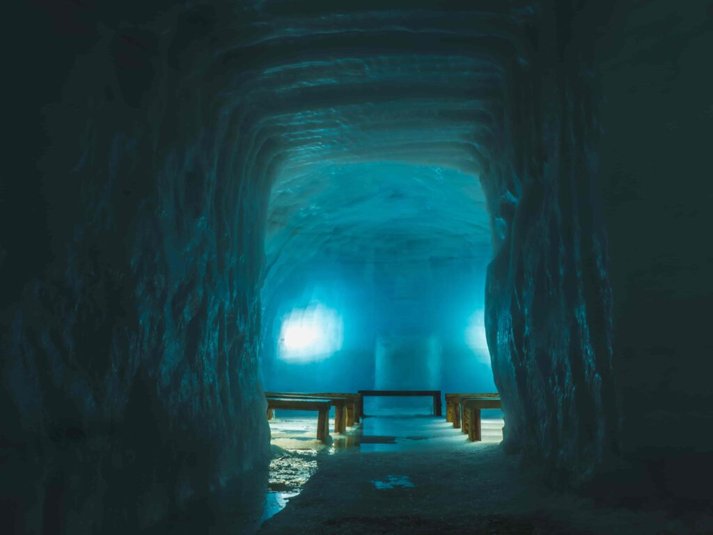 into the glacier ice chapel in Iceland