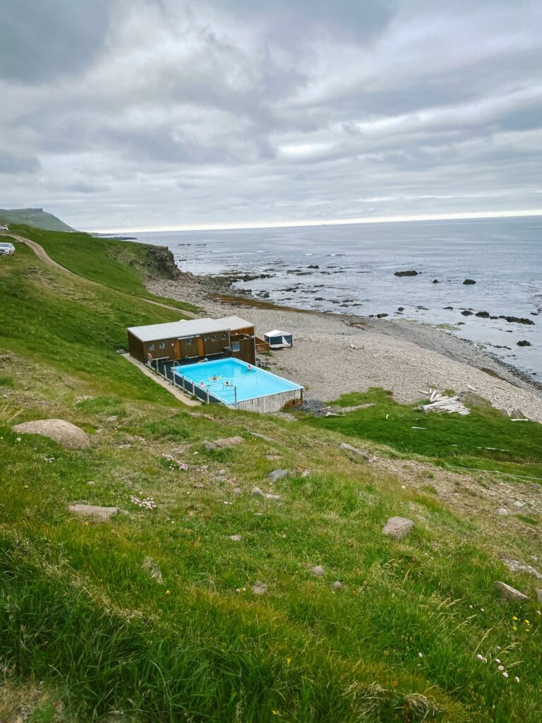 krossneslaug hot spring pool in the Westfjords of Iceland