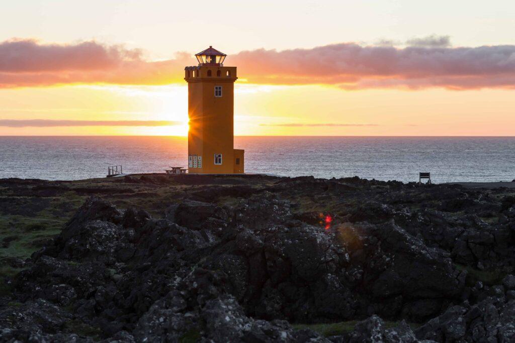 Svörtuloft cliffs and lighthouse in Snæfellsnes Peninsula