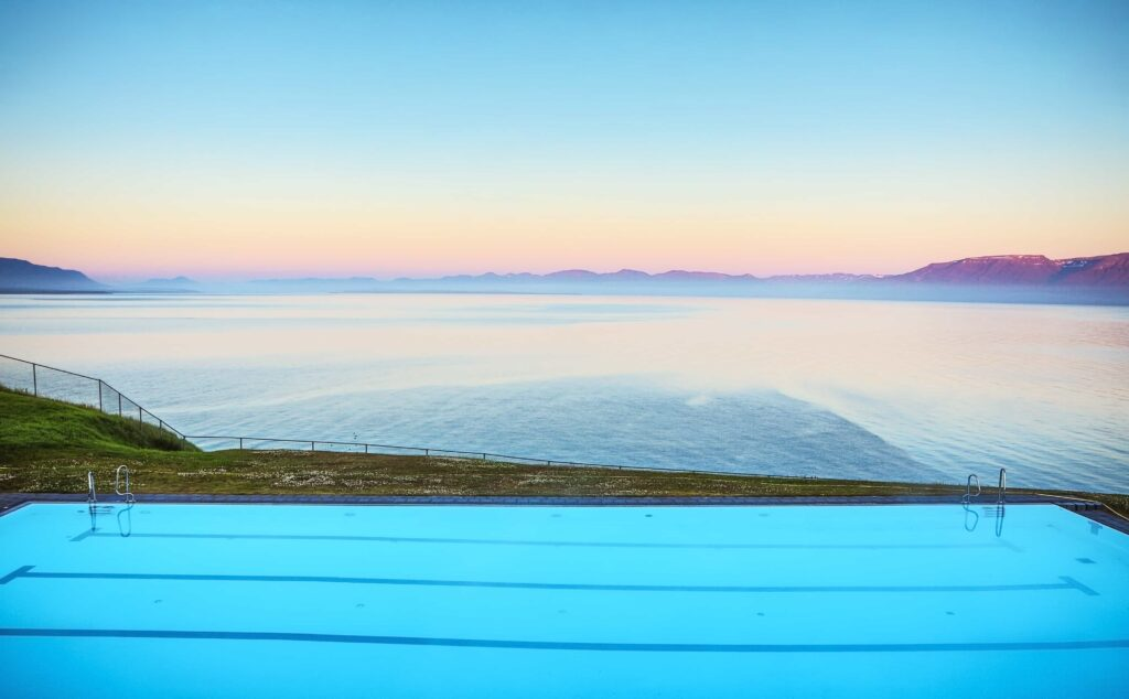 Hofsos infinity swimming pool in north Iceland