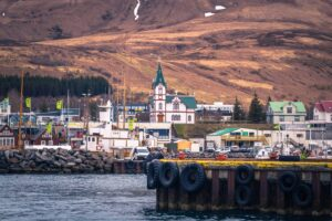 Húsavík fishing village in north Iceland