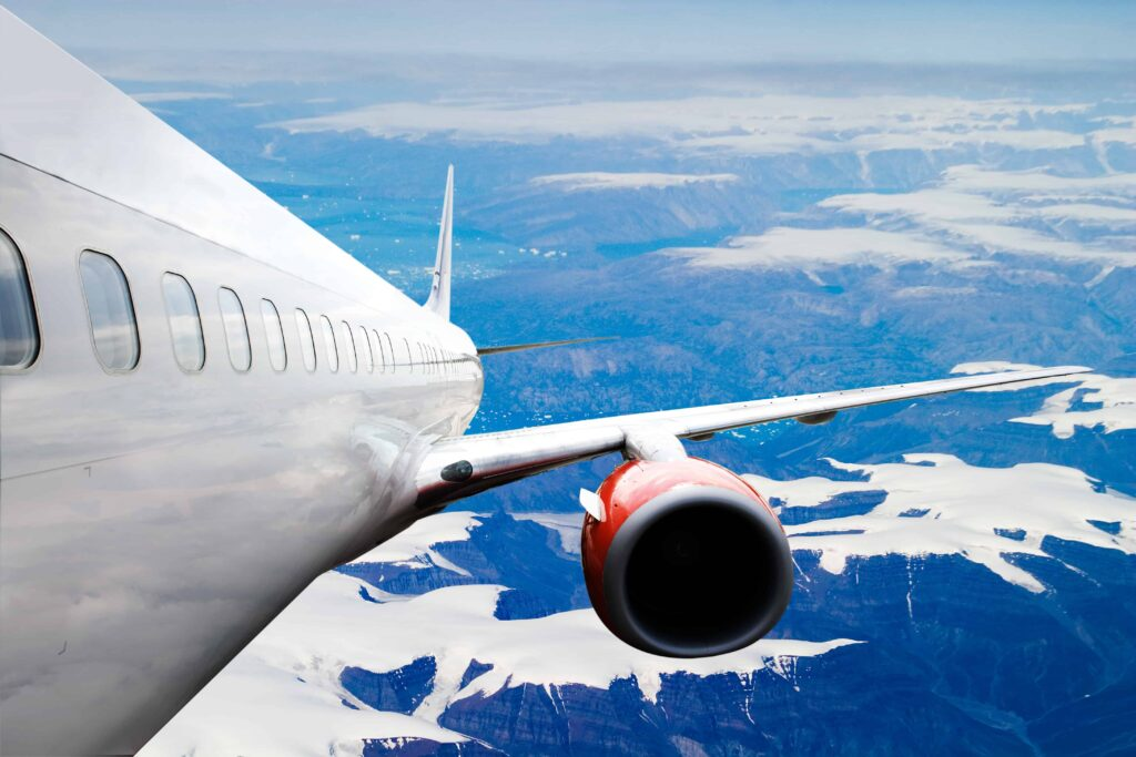 airplane flying over Iceland