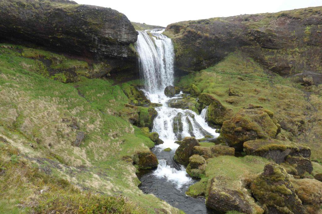 Selvallafoss hidden waterfall in Snæfellsnes Peninsula