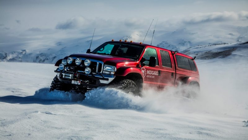 Super Jeep driving on glacier in Iceland