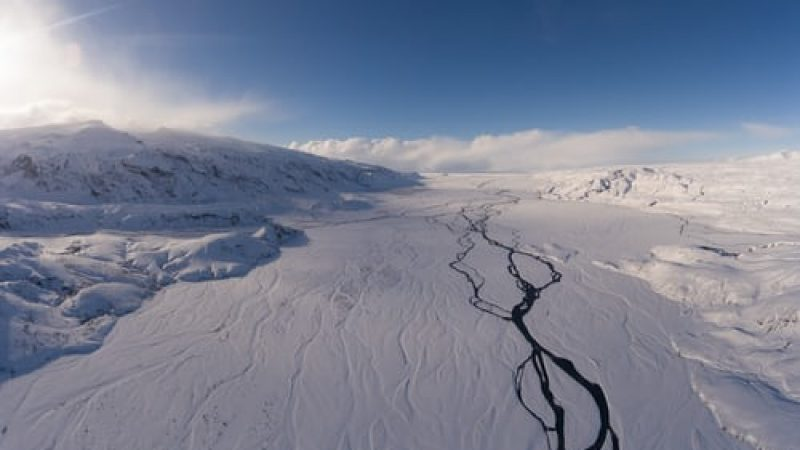 winter view over aerial view over Þórsmörk in the highlands of Iceland