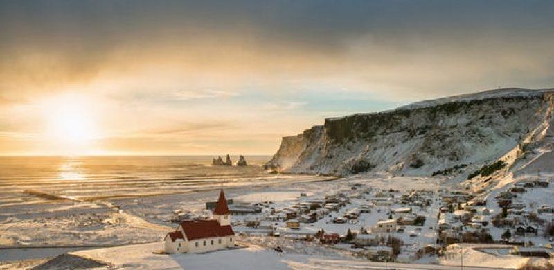 Vík village during winter