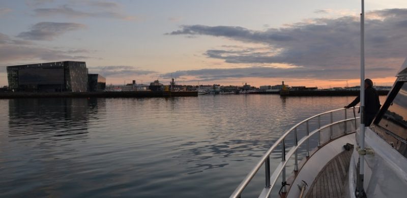 yacht in Reykjavik harbor
