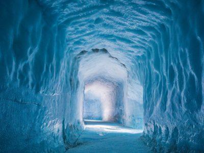 into the glacier ice cave in Langjokull