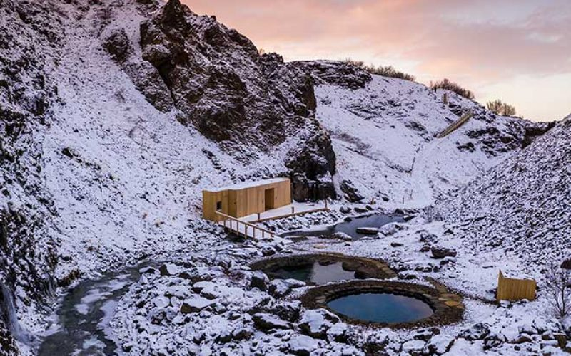 Giljaböð hot springs in the winter in the highlands of Iceland from Húsafell