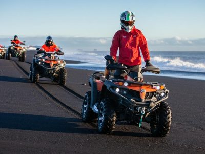 ATV tour on the black sand beach in Iceland on the way to Sólheimajökull plane wreck
