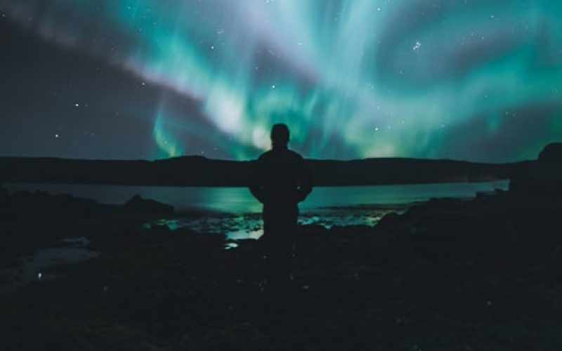 man watching the northern lights in Iceland