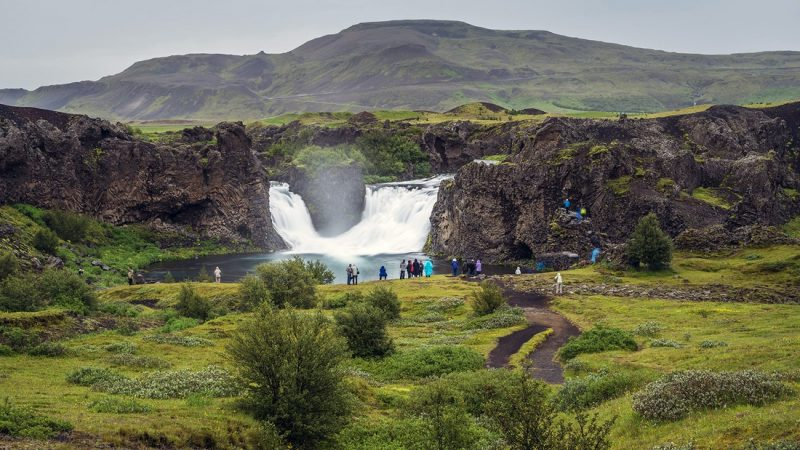 Hjálparfoss waterfall in the Game of Thrones tour in Iceland
