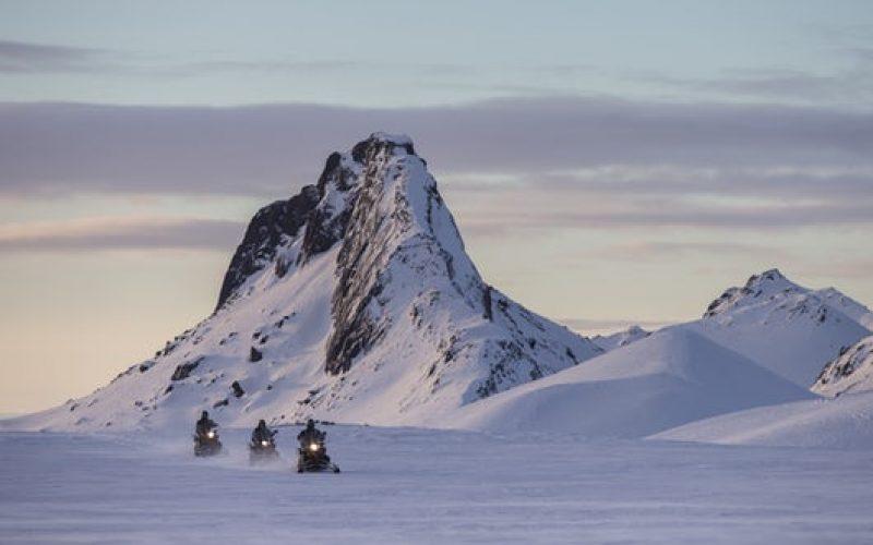 snowmobile on langjokull glacier into the glacier