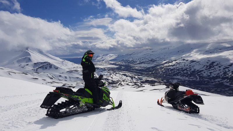 views from Eyjafjallajokull volcano and glacier snowmobile tour