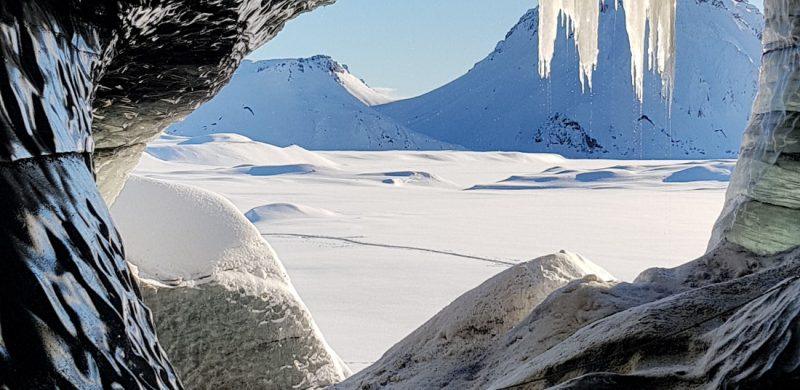 winter view over the highlands of Iceland from Katla Ice Cave under the volcano glacier