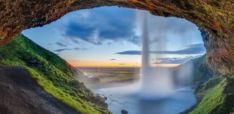 Seljalandsfoss waterfall seen from behind