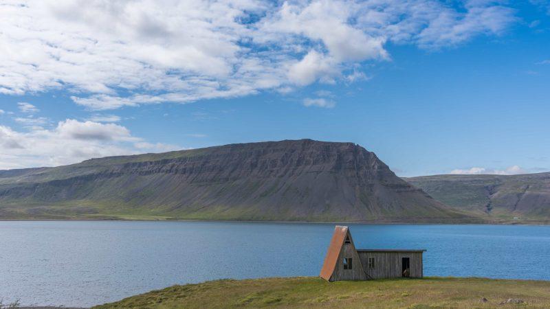 abandoned house in Bíldudalur fishing village in westfjords of Iceland