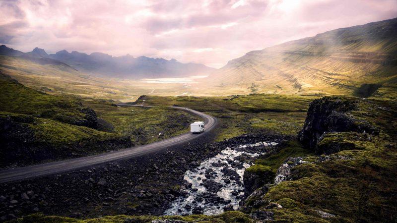 camper van driving in East Iceland