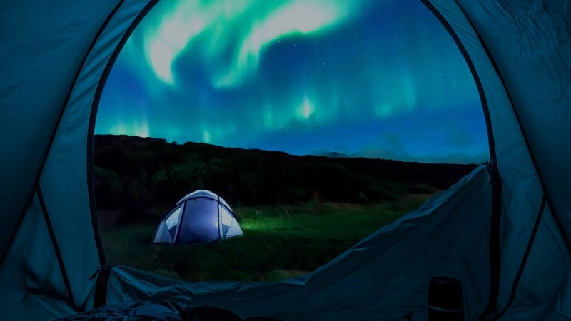 northern lights camping in Iceland