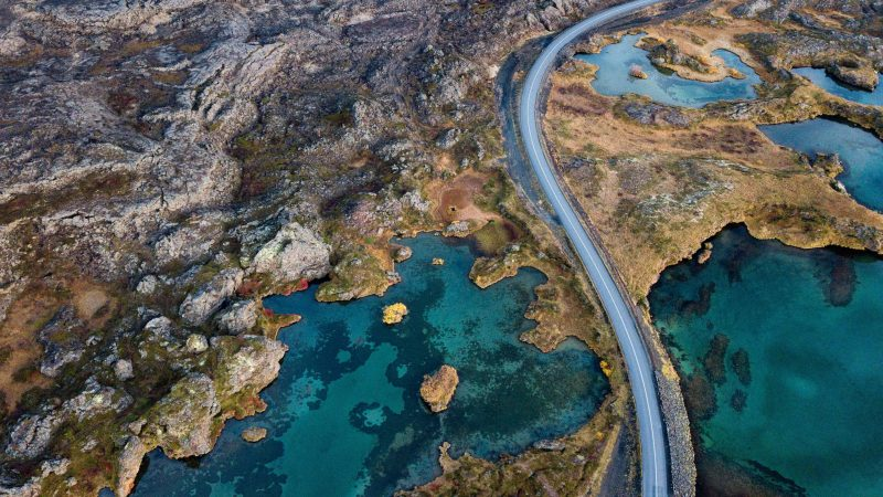 Drone flying in Iceland, road in Iceland seen from a drone