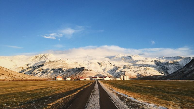 the farm in front of Eyjafjallajokull volcano and mountain in Iceland