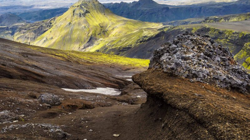 Fimmvorduhals hike with eyjafjallajokull in background