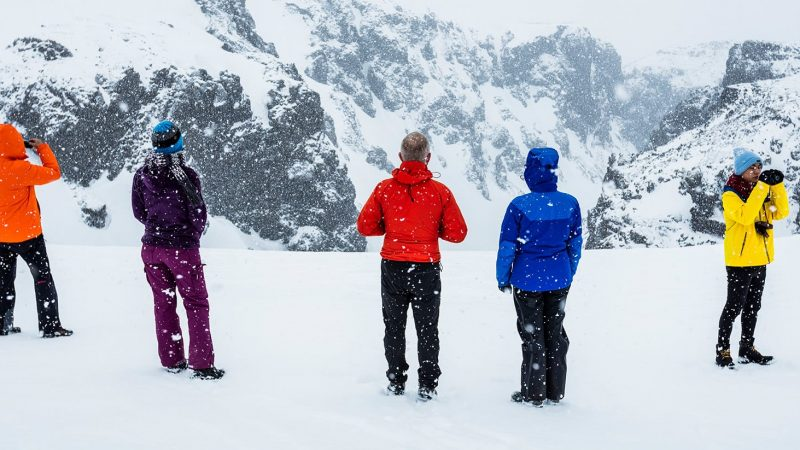 people on Eyjafjallajokull Super Jeep tour during winter