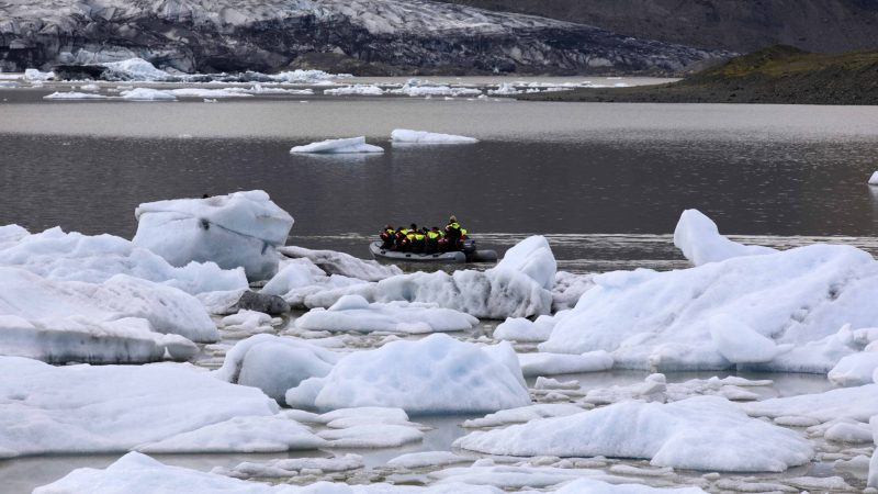 boat sailing on Fjallsarlon glacier lagoon in south Iceland